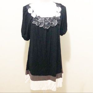 i.ner black white and gray tunic dress top Size L